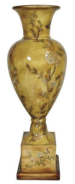 30012: Floral Laquer Ware Vase onStnd