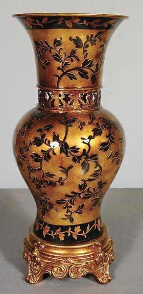 30015: Laquer Ware Gold Leaf  Vase