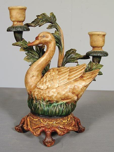 30018: Ceramic Swan Candleholder