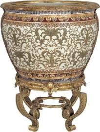 40098: Porcelain Planter on Brz Stand