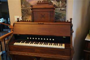 Antique Pump Organ And Stool From 1890s