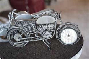 Pair Of Die Cast Metal Motorcycle Clocks