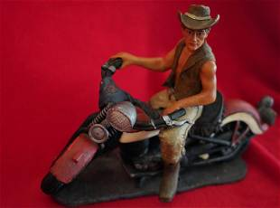 Motorcycle Figurine With Rider