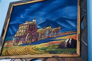 """Moonlit Carriage"" Original Painting On VELVET."