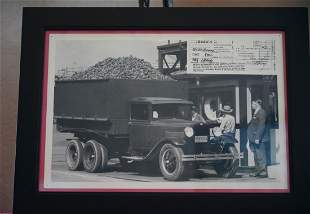 """Antique Photo/ Picture In Frame """"COAL TRUCK"""""""