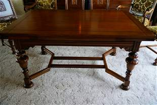 Antique Dinning Table Continental Carved Walnut