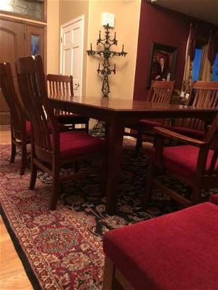 SOLID CHERRY WOOD Dinning Table And 10 Chairs.