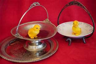 SET OF THREE SILVER PLATED SERVING BOWLS( 2) & TRAY