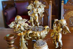 Antique Gold 7 Items- Bowls, Candleholders, Angels
