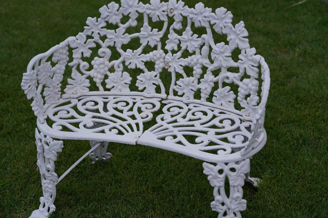 Antique Cast Iron Victorian Grape And Leaf Garden Bench