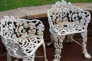 Antique Cast Iron Grape And Leaf Garden 2 Chairs