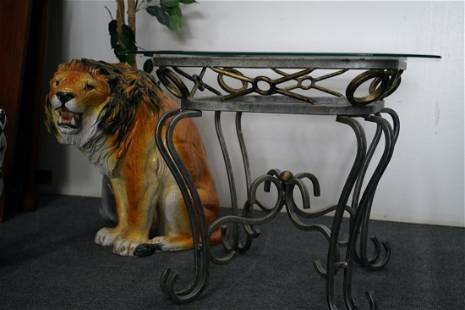Glass & Metal Table With Gold
