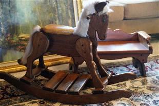 Vintage Kids Horse & Bench