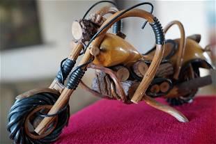 Handmade Chopper Style Wooden Motorcycle.