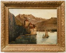 Vintage European Lake Scene Oil on Canvas
