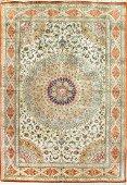 Vintage Qum Persian Silk Rug