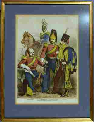 Vintage Litho print of European Cavalry Officers