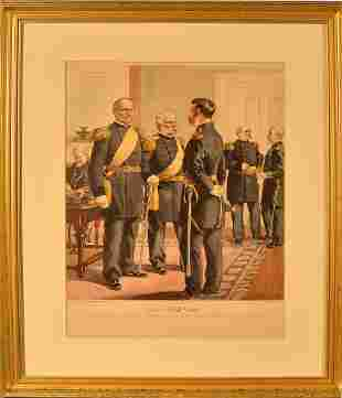 Antique Lithograph of General & Officers 1872-1880