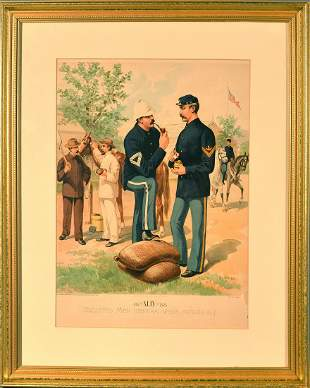 Antique Lithograph of Enlisted Men