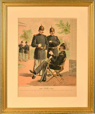Antique Lithograph Field & Line Officers