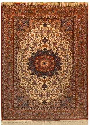 Vintag Isfahan Persian Serafian Silk Foundation Rug