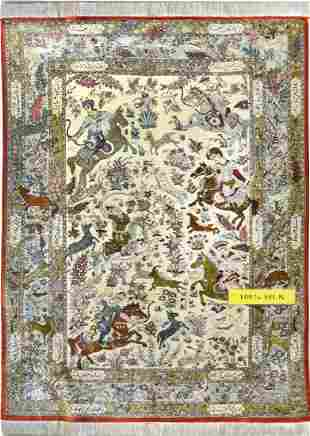 Collectable Hunting Qum Persian Rug