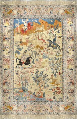 Antique Isfahan Wool on Silk foundation Persian Rug