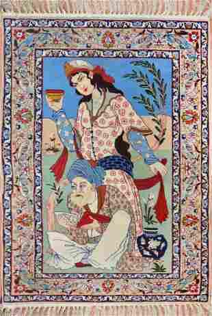 Vintage Pictorial Isfahan Wool & Silk Persian Rug