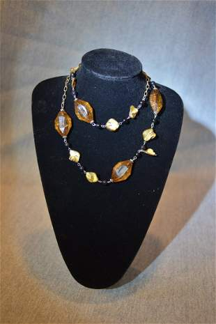 Vintage Amber and Shells Necklace