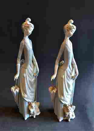 Vintage Pair of Collectible Victorian Lady Liodro