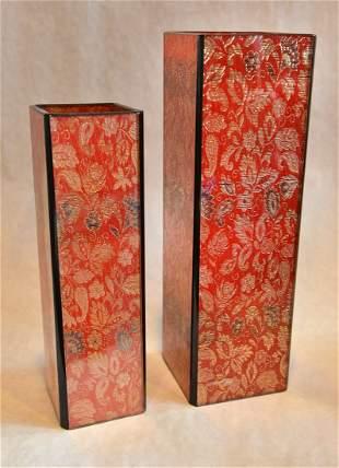 Vintage Pair Of Malaysian Crystal Vase