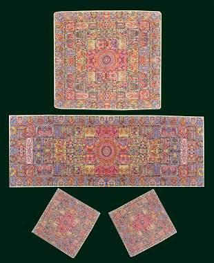 Set Of Persian Silk Termeh Tapestry Soltani Design