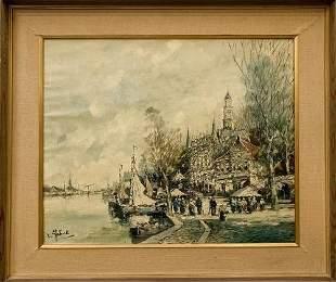 F.Roberts Vintage Original Oil on Canvas Painting
