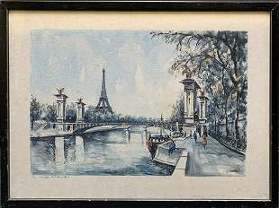 C. Ducollet (French)Vintage Watercolor Painting Eiffel