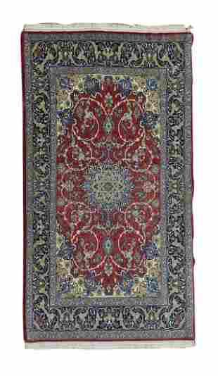 Vintage Isfahan Persian Wool and Silk Rug