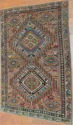 Antique Kazak wool Caucasian Rug, Circa 1920