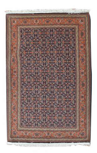 Vintage Tabriz Persian Rug , Wool & Silk