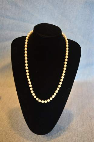 Vintage Pearl Necklace with 14 K Gold Hook