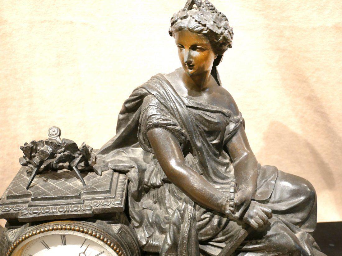 Antique Bronze Lady Clock