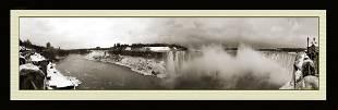 Panoramic Photo View Of The Niagara Falls In Winter