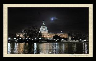 Photo Of The United States Capitol & The Moon