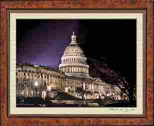 Photo Of The U.S Capitol at Night Water Color Effect