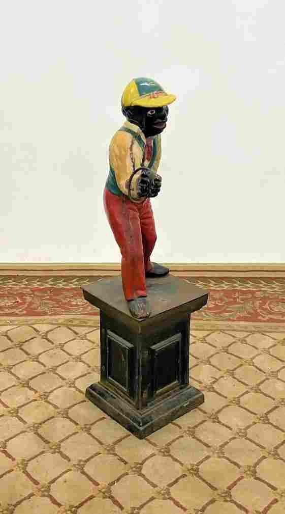 Rare original antique cast iron lawn jockey
