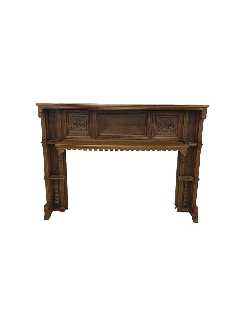Very ornate antique walnut mantle