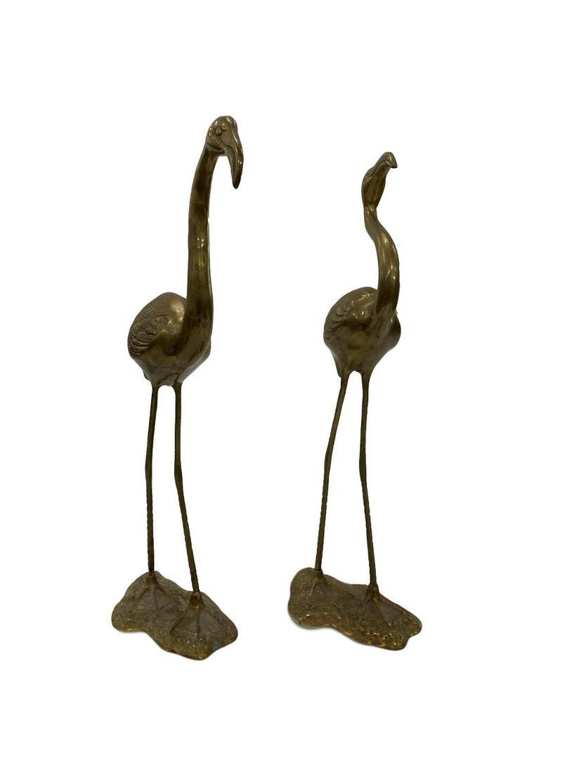 Tall Brass flamingo statues