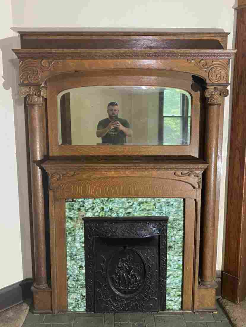 Antique Oak Mantle w/ original glazed tile and Insert