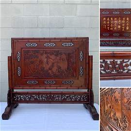 A Beautiful & Large Carved Wood Table Screen Crane
