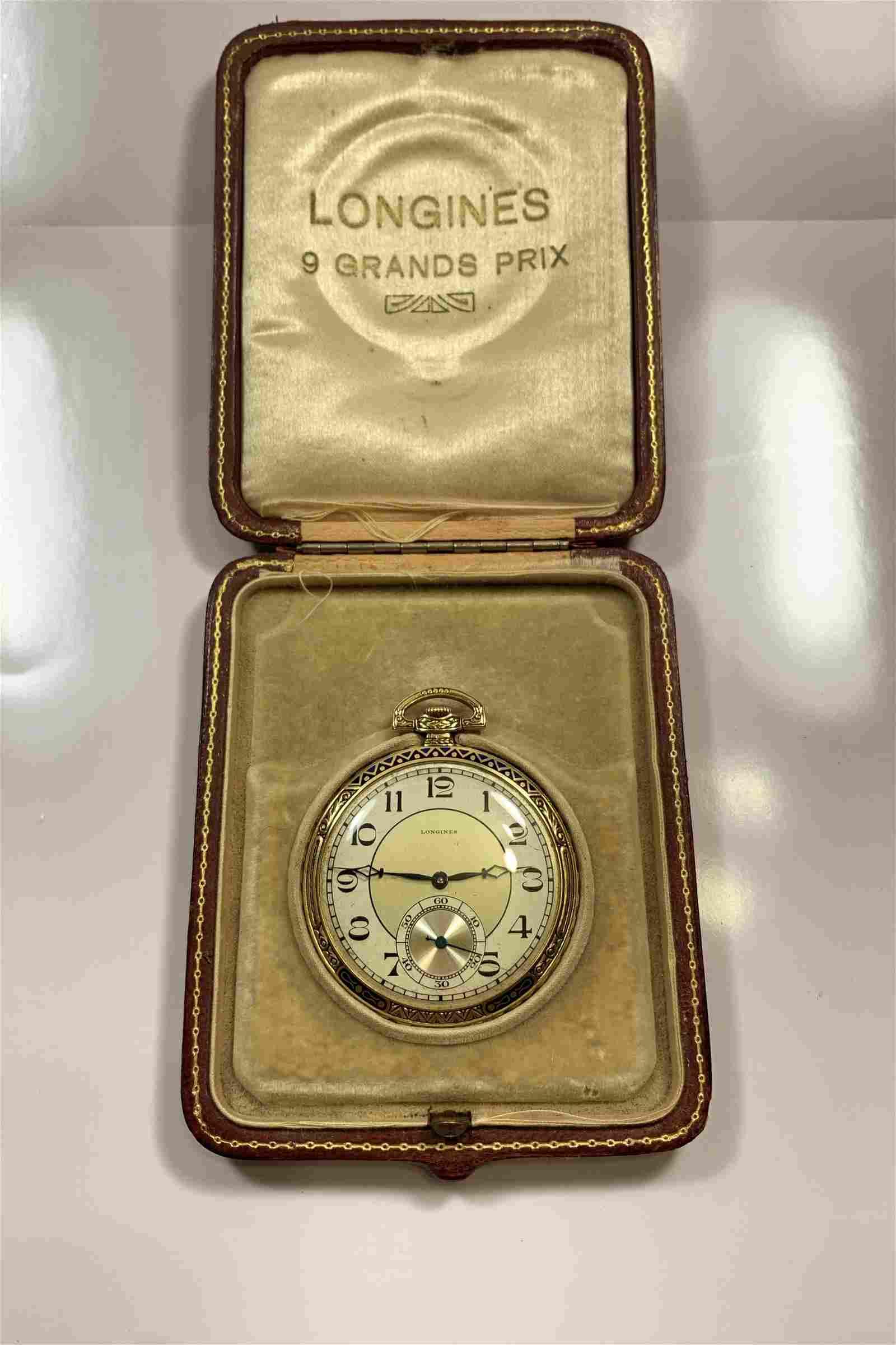 A Fine Longines 18k Gold Enamel Pocket Watch