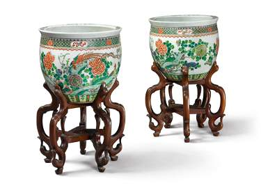 A Sothebys Pair of Chinese Famille Verte Fish Bowls