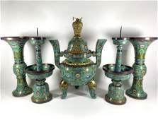 Monumental Chinese Cloisonne Five-Piece Altar Garniture